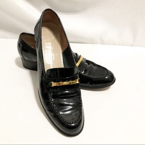 Salvatore Ferragamo Black Patent Loafers